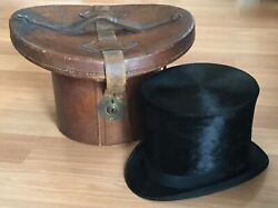 Old Vtg Antique Dunlap And Co 1920s H.s. Taylor Silk Top Hat Leather Carrying Case