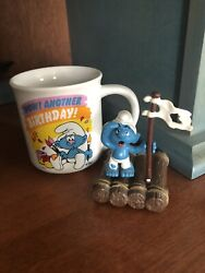 Vintage 1982 Smurfs Wow Another Birthday Cup And Rare 1984 Smurf On Raft