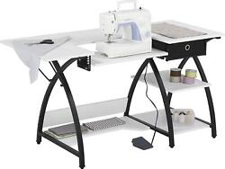 Sewing Table With 1 Fabric Drawer Storage Craft Computer Desk Black / White