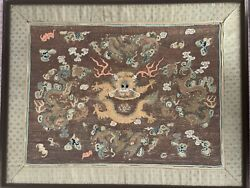 Antique 5 Claw Golden Dragon Embroidery Pre-18th Century