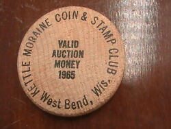 Wooden Nickel Kettle Moraine Coin And Stamp Club West Bend Wis Valid Auction 1965