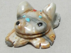 Zuni Fetish F-2546 Picasso Marble Frog By Sherry Bellson