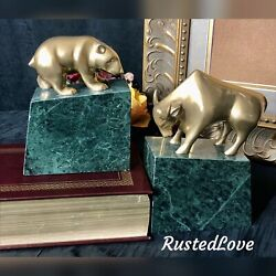 Bear And Bull Bookends Wall Street Stock Market Brass Solid Green Stone Mcm
