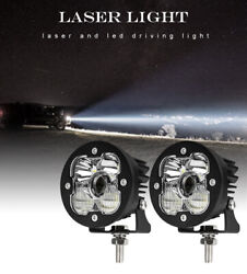 2pcs Round 3.5and039and039 Inch Laser Led Work Light Offroad Atv 4wd Suv Bumper Fog Pods