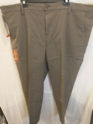 Dockers Mens Work Day Khaki Big And Tall Tapered Fit Brown Pants Size 46 X 29