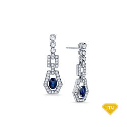 14k White Gold Blue Sapphire And Natural Diamonds Earring 3.60ct.tw Si G