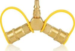 Propane Y Splitter 1/4 In. Quick Connect Adapter Hose Fittings For Rv To Grill