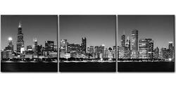 Canvas Wall Art Painting Chicago Night Buildings Cityscape Black amp; White 3 Piece