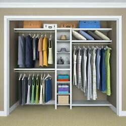 Closet Organizer Systems Wood Adjustable Fits 48 In. - 108 In. Wide White