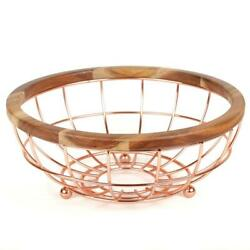 Fruit Basket Acacia Copper Plated Wood And Iron Wire Bowl Home Kitchen Decor