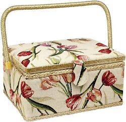 Sewing Basket Large Box Tulip Floral Print Removable Tray Built-in Pin Cushion