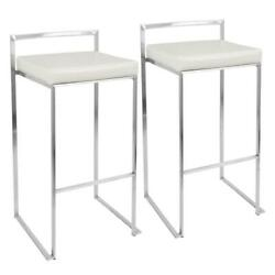 Bar Stools Set Of 2 Stainless Steel White Cushion Faux Leather 30 Foot Rest