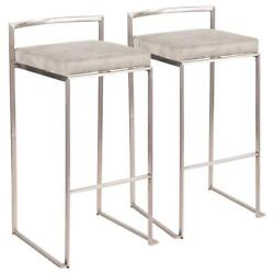 Bar Stools Set Of 2 Stainless Steel With Light Grey Cowboy Cushion 30 Foot Rest