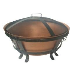 Fire Pit Cast Iron 34 In. Copper Coating Whitlock Cauldron Style Wire Mesh Cover
