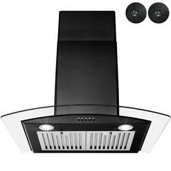 Range Hood 30 In. Stainless Steel Black Painted Tempered Glass And Carbon