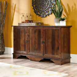 Sideboard Buffet Storage Cabinet Wood Curado Cherry Adjustable Shelf Behind Door