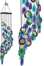 Wind Chimes Peacock Blue Sea Glass 27 In. Metal Hook Outdoor Garden Home Decor