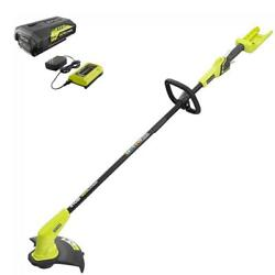 String Trimmer Cordless Straight Shaft Yard Grass 40-volt With Battery Charger