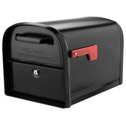 Locking Mailbox Post Mount With 2-access Doors Black Heavy Duty Rugged Metal