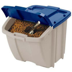 Dog Food Storage Container 72-quart Resin Hopper Bin Cat Pet Recycle Stackable