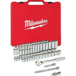 Ratchet Socket Set 3/8 In. Drive Sae Metric 56-piece Mechanic Tools With Case