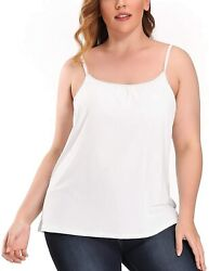 Ritera Womenand039s Tank Top With Built In Padded Bra Cotton Cami Undershirt Adjustab