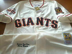 Sf Giants 25 Barry Bonds Special Dual Patches Sewn Jersey Ivory 2xl Nwt