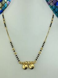 22k Solid Gold Mangal Sutra Traditional Black Beads With Pendant C0262