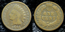Antique 1891 Indian Head Cent One Penny United States Of America