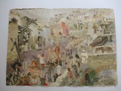 Jose Perea Painting Mexican Social Realist Surrealism 1950and039s Mid Century Modern