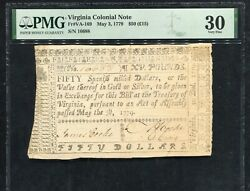 Va-169 May 3, 1779 50 Fifty Dollars Virginia Colonial Currency Note Pmg Vf-30