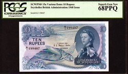 """Seychelles P15a 1968 10 Rupees Pcgs 68 """"sea Turtle Note"""" Perfect Centering"""
