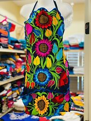 Craft Apron One Size Fits Most Mexican Floral Embroidery