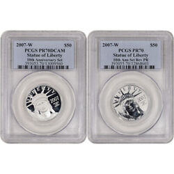 2007 W American Platinum Eagle Two Coin Proof Set - Pcgs Pr70