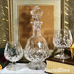 Waterford Lismore Brandy Glasses And Footed Decanter Crystal Ireland Set