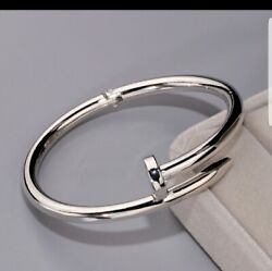This Item Is Sold 14k White Gold Over Love Nail Bangle Bracelet In 7.75 Unisex