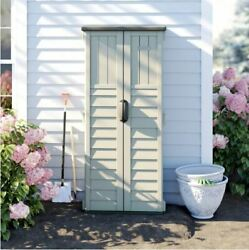 Outdoor Storage Utility Shed Patio Garden Vertical Tool Cabinet Tall Resin Box