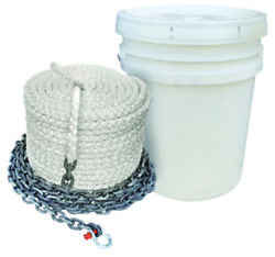 Seachoice Anchor Rode Rope 1/2x200and039 Nylon 8 Strand Chain 1/4x10and039 Windlass Boat