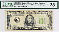 1934 500 Bill Federal Reserve Note Chicago Light Green Pmg Vf25 Fr.2201-glgs