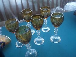 Set Of 6 Amber Cut To Clear Bohemian Glass Wine Goblets