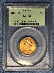 1886-s 5 Liberty Head Gold Coin Certified Pcgs Ms63 Ogh
