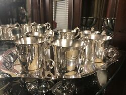 Wallace Silver Co Silver Plated Coffee Teapot Cups Set With Matching Plate