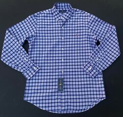 Polo Men M Plaid Check Button Front Oxford Shirt Classic Fit New