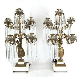 Huge Pair 19th Century Bronze Lusters / Lamps 25andrdquo H