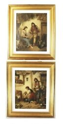 Pair Early 19th Century Oil On Canvas Paintings Italian F Morelli 29.75 X 25.75