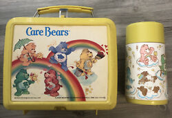 Vintage Lunchbox Aladdin Brand 1983 Care Bears With Thermos Plastic Yellow