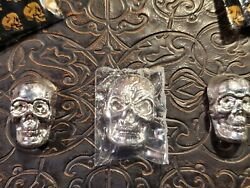 Lot Of 3 - 1 Oz 999 Silver Poured Skulls By Yps