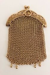 Sweet 9ct Rose Gold Victorian / Edwardian Mesh Sovereign Purse Fob. Rare. Nice1