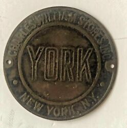 Charles Williams Stores Inc New York Brass Furniture Tag York Vintage Antique