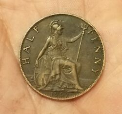 Great Britain 1902 Half Penny - Xf - Old England Coin - Km 793.2 - Uk